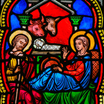 Nativity Scene - Christmas Card - Stained Glass in Monaco Cathedral