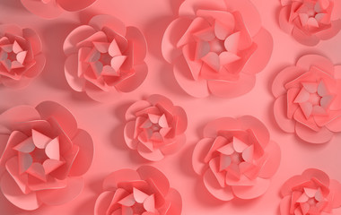 3d render paper peony roses. Digital illustration, pastel pink  background and pink paper flowers. Floral composition background, wedding card, quilling, romantic bridal bouquet