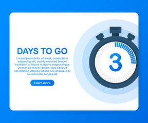 Three days to go. Banner for business, marketing and advertising, Vector illustration on white background.