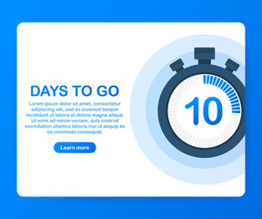 Ten days to go. Banner for business, marketing and advertising, Vector illustration on white background.
