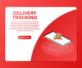 Parcel tracking website on smartphone screen. Online package tracking. Modern concept. Vector illustration.