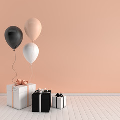 3d render interior with realistic black, white, beige balloons and gift box with bow in the room. Empty space for party, promotion social media banners, posters.