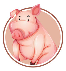 A pig sticker template