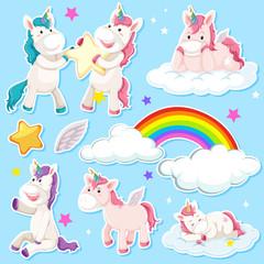 Set of unicorn sticker