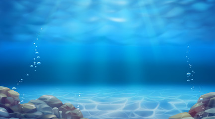 Underwater landscape. Realistic vector background