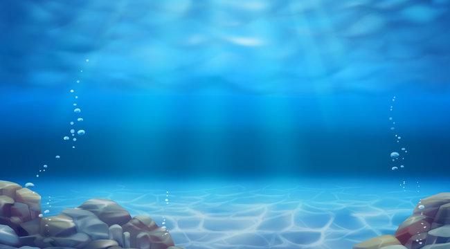 Underwater landscape. Realistic vector background