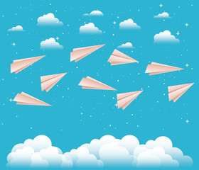 sky with paper airplanes