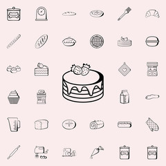cake with strawberries icon. Bakery shop icons universal set for web and mobile