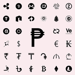 philippine peso icon. Crepto currency icons universal set for web and mobile