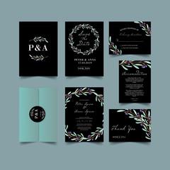 modern blush olive wedding invitation