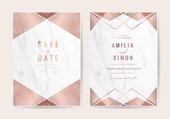 Wall Mural - Wedding invitation cards with Luxury gold marble texture background and geometric pattern vector design template