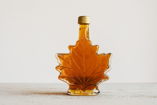 maple syrup in leaf bottle