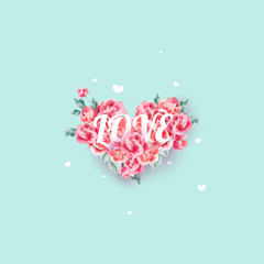 Valentine's day greeting card templates with pink roses on blue background, Pastel color. Vector Eps.10