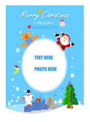 Santa Claus and friends .at Chrismas with blank frame,wallpaper,card,greeting.