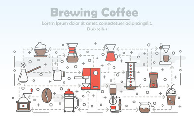 Vector thin line art brewing coffee poster banner template