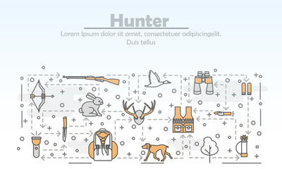 Vector thin line art hunter poster banner template