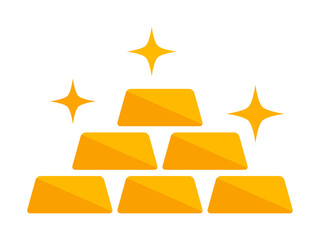 Stack of gold bars or treasure stash flat vector golden color icon for apps and games