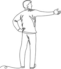 man points hand. drawing a continuous line