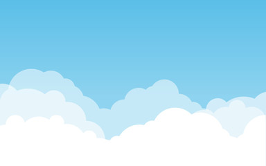 Blue sky with clouds. Can be used poster or presentation design. Nature concept. Clean background. Vector illustration.