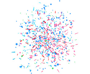 Multicolored confetti on white. Geometric background with glitters. Pattern for design. Print for flyers, poster, banner or textile. Greeting cards. Luxury texture