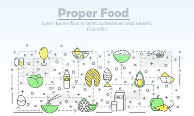 Vector thin line art proper food poster banner template