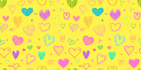 Seamless colorful background with big and small hearts. Abstract geometric wallpaper of the surface. Hand drawn simple love signs. Print for polygraphy, posters, t-shirts and textiles