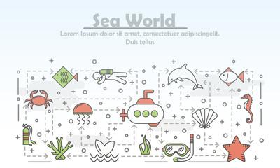Vector thin line art sea world poster banner template