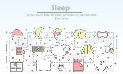 Vector thin line art sleep poster banner template