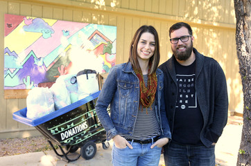 Pastors Ericka and Blake Henry stand for a portrait at Central Christian Church campus in Mesa, Arizona