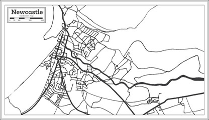 Newcastle England City Map in Retro Style. Outline Map.