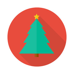 christmas tree icon in flat style with long shadow,isolated vector illustration on white transparent background.
