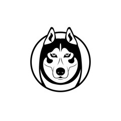 wolf head. vector dog. animal logo. black and white symbol. husky face