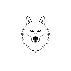 wolf head. vector dog. animal logo. black and white symbol