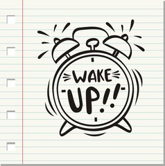 Hand drawn alarm clock isolated on paper background