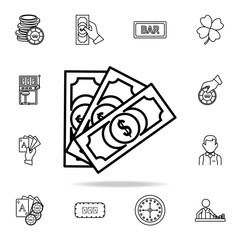 money bills icon. Detailed outline set of casino element icons. Premium graphic design. One of the collection icons for websites, web design