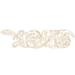 Golden vintage baroque ornament, corner. Retro pattern antique style acanthus.