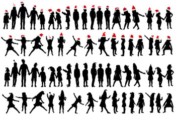 set of kids silhouettes, new year, christmas