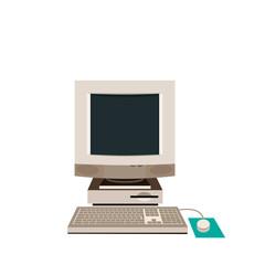 Desktop PC, Computer Equipment, Old. Vector illustration.