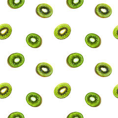 Kiwi exotic fruit seamless pattern. Watercolor illustration