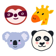 Set of cute animal heads icons - sloth, giraffe, koala, panda. Vector hand drawn illustration for greeting card, invitations, kids wear, t shirt, social network stickers, posters design.