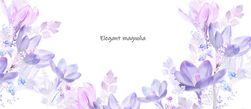 Elegant watercolor magnolia flower