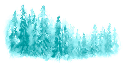 Watercolor group of trees - fir, pine, cedar, fir-tree. blue forest, countryside landscape. Drawing on white isolated background. Watercolor poster, postcard, logo.