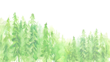Watercolor group of trees - fir, pine, cedar, fir-tree. green forest, countryside landscape. Drawing on white isolated background. Watercolor poster, postcard, logo.