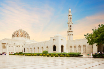 Poster Middle East Muscat, Oman, Sultan Qaboos Grand mosque. Sultan Qaboos mosque or Muscat Cathedral mosque is the main operating mosque of Muscat, Oman.