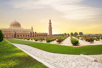 Wall Murals Middle East Muscat, Oman, Sultan Qaboos Grand mosque. Sultan Qaboos mosque or Muscat Cathedral mosque is the main operating mosque of Muscat, Oman.
