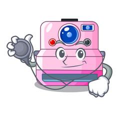 Doctor cute retro instant camera on cartoon