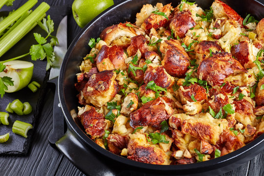 tasty savory bread Stuffing, top view, close-up