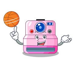 With basketball cute retro instant camera on cartoon