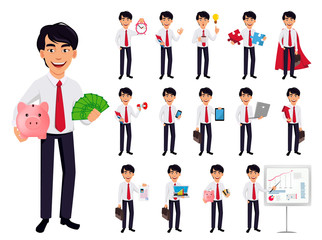Asian business man, concept of cartoon character