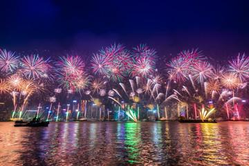 Fireworks celebration in New Year Countdown festival, Hongkong